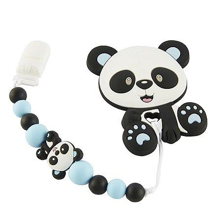 Prendedor de Chupeta em Silicone - Panda Baby Azul
