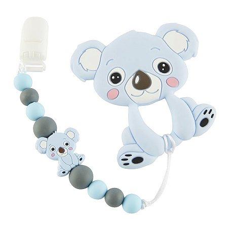 Prendedor de Chupeta em Silicone - Koala Baby Azul