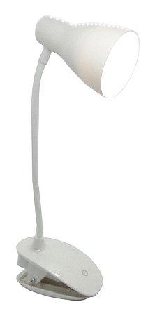 Luminária de Mesa Recarregável Alfacell Bivolt 14 Leds Flexível Branco