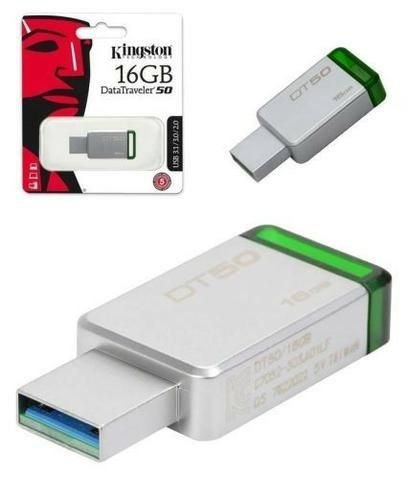 Pen Drive USB 3.1 Kingston DT50/16GB Datatraveler 50 16GB Metal Verde