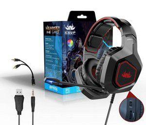 Headset Gamer Ps4 Xbox One Pc Knup Kp-451 P2 / P3 3.5mm Com Mute No Cabo Cor Preto Com Detalhe Azul Para Pc Ps4 X Box