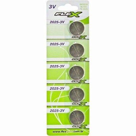 Bateria Lithium 3v Cr2025 - Cartela 5 Unidades - Fx-2025 Flex