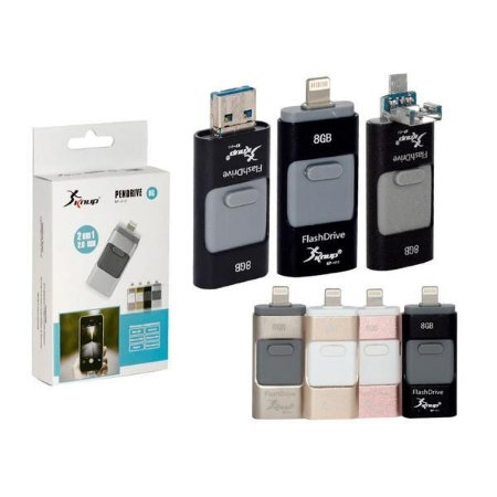 PEN DRIVE 8GB USB 2.0 MEMÓRIA FLASH PARA IPHONE5, IPAD, MAC, PC, V8 KP-U12 KNUP