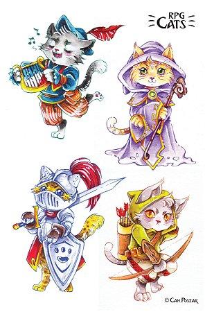 Cartela de adesivos RPG Cats HOLO