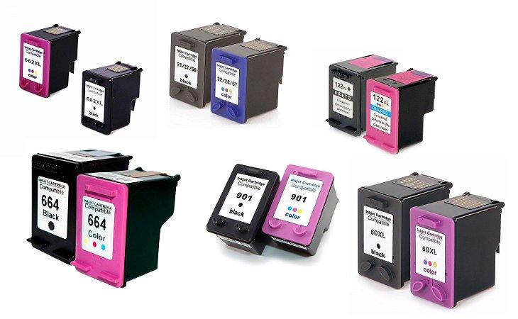 Cartuchos Jato de Tinta Compatíveis HP Novo XL 901 122 662 664 60 21 27 56 22 28 57