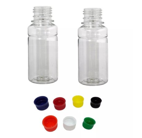 Frasco Pet Liso 100 Ml Cristal com Várias Cores de Tampas