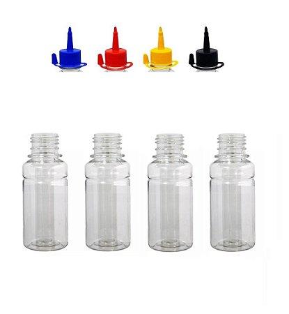 Frasco Pet Liso 100 Ml Cristal com Bicos Dosadores Várias Cores