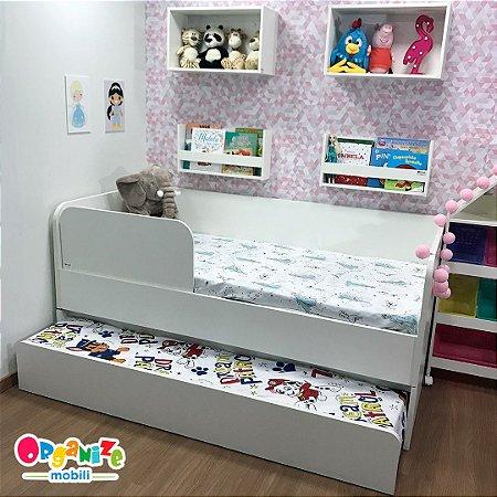Bicama mobili kids - promoção ganhe um protetor de cama lateral branco
