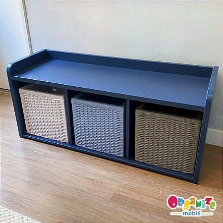 Mobili organizador infantil três nichos na cor azul + 3 cestos organizadores em fibra sintética