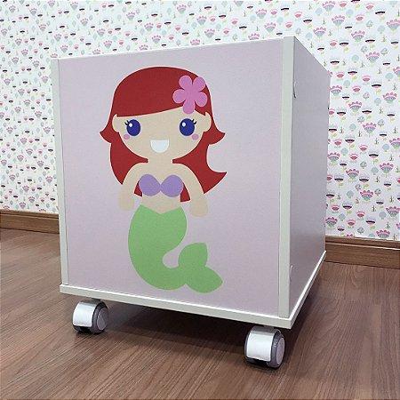 Baú organizador de brinquedos tema Princesa Ariel