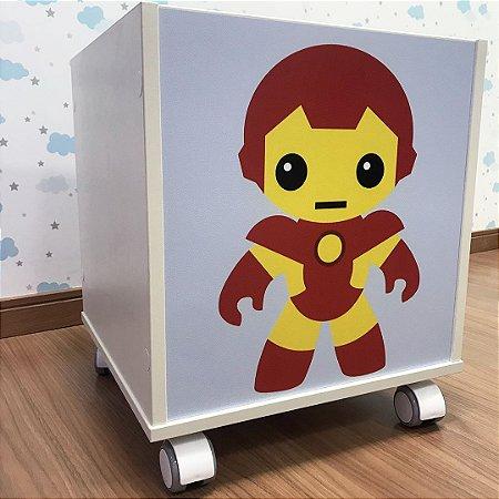 Baú organizador de brinquedos com tema homem de ferro
