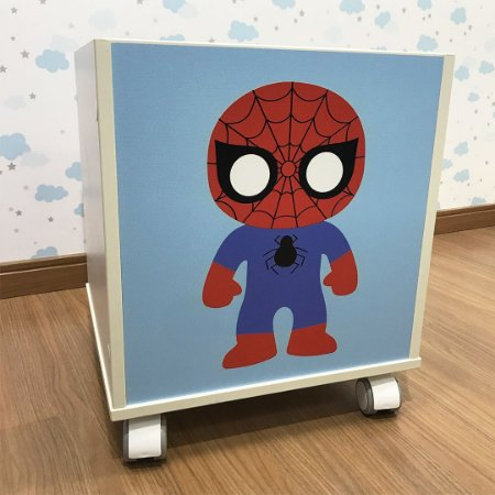 Baú organizador de brinquedos com tema homem aranha