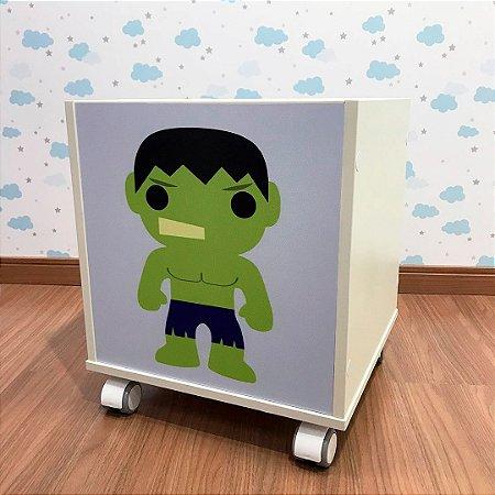 Baú organizador de brinquedos com tema Hulk