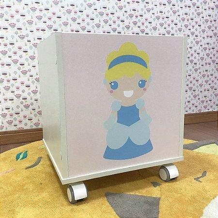 Baú organizador de brinquedos Princesa Cinderela