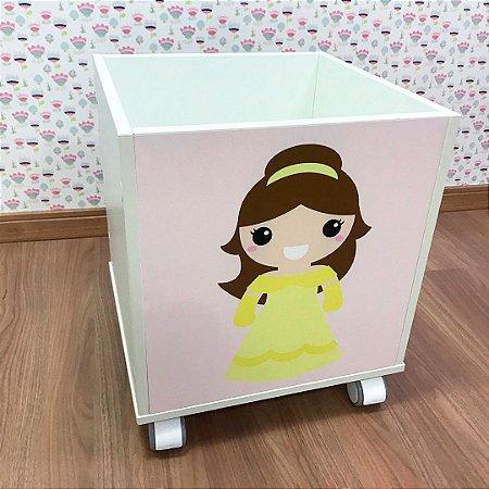 Baú organizador de brinquedos tema Princesa Bela