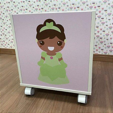 Baú organizador de brinquedos tema Princesa Tiana