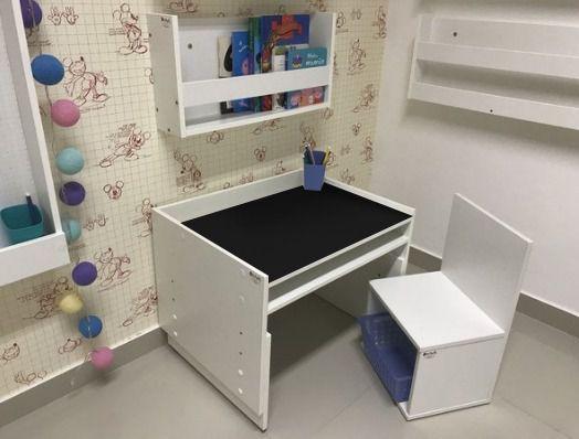 Combo 1 - mesa 63 cm de largura com tampo blackdots  + 1 - cadeira + 1 - organizador de livros + 1 - porta lápis
