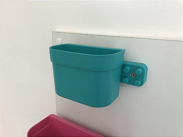 Organizador cesto de encaixe pequeno verde com barra
