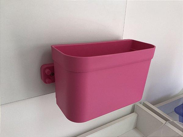 Organizador cesto de encaixe grande rosa com barra