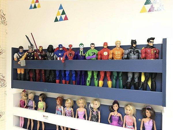 Organizador de bonecos e bonecas azul 1,00m larg