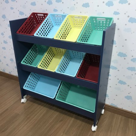 Organizador de Brinquedos 6 Travessas Azul - 8CXP, 2CXG