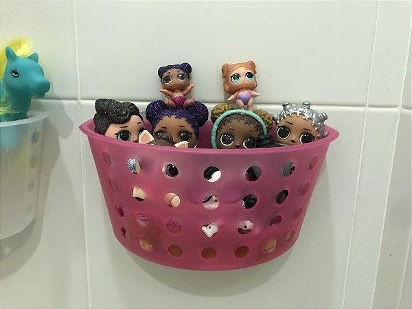 Cesto organizador de brinquedos para banheiro ROSA