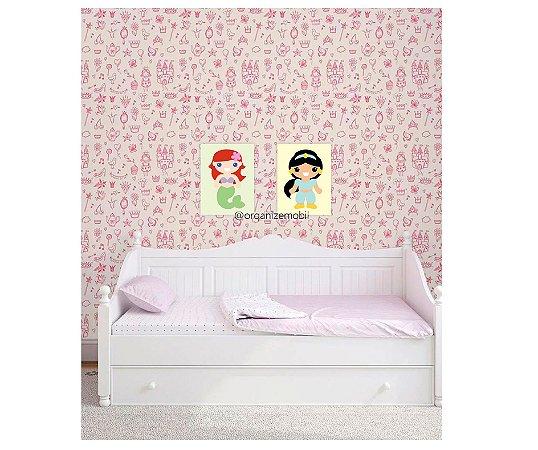 Quadro de decoração infantil princesas (2 unidades)