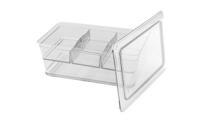 Organizador transparente multifuncional com divisórias