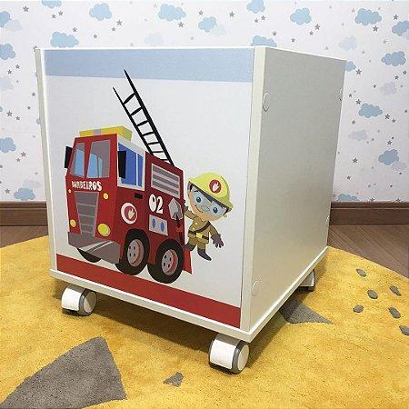 Baú organizador com rodizio com tema bombeiro