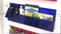 Organizador de bonecos e bonecas em acrílico (valor unitário) somente azul