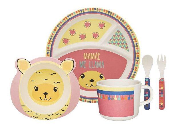 Kit alimentação kids - lhama (5 peças)