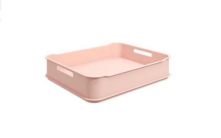Caixa organizadora 38 x 31,6 x 8 cm rosa blush - não acompanha divisórias