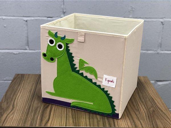 Cesto organizador infantil quadrado 3 sprouts modelo dragão
