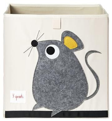 Cesto organizador infantil quadrado 3 sprouts modelo ratinho