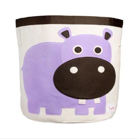 Cesto organizador infantil redondo 3 sprouts hipopótamo
