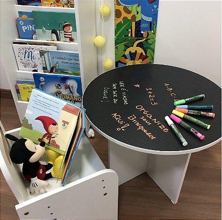 Combo mesa redonda + cadeira de regulagem + organizador de livros compacto + kit caneta liquigiz