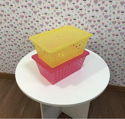 combo 2 Caixas organizadoras pequenas com tampa