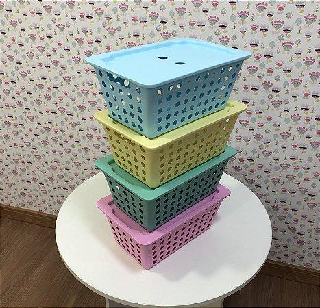 combo 4 Caixas organizadoras pequenas com tampa