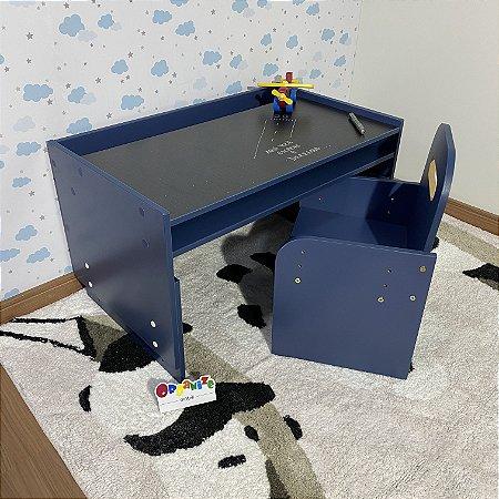 Combo office kids - Mesa (mari83) azul + Cadeira de regulagem (cari2) azul.
