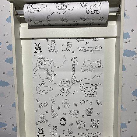 Rolo de papel  para colorir - pintando com os animais