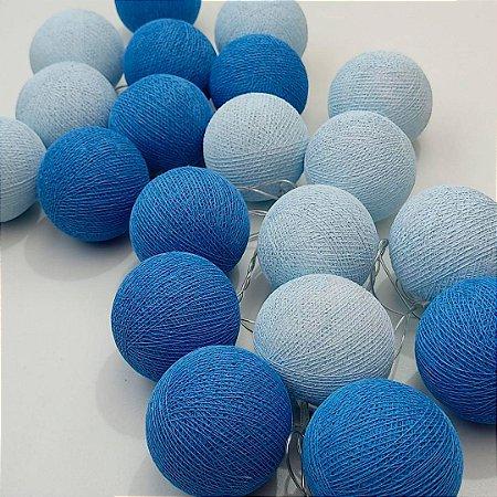 Fio de luz LED com 20 bolas - 2 tons de azul 110W