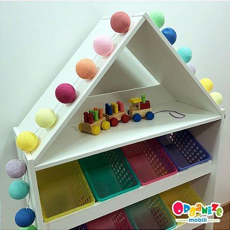 Fio de luz LED com 20 bolas - colorido com rosa - 110W