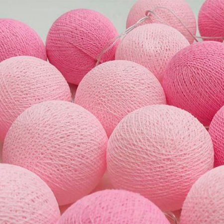 Fio de luz LED com 20 bolas - 2 tons de rosa - 110W