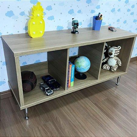 Mobili organizador infantil três nichos com pés fixos cor itapuã - não inclui as caixinha