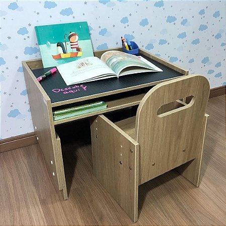 Combo mini office cor itapuã tampo blackdots - Mesa (MARI63) + Cadeira com regulagem (CARI2)