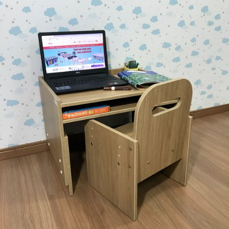 Combo mini office cor itapuã - Mesa (MARI63) + Cadeira com regulagem (CARI2)