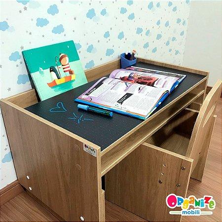 Office kids itapuã - Mesa (mari83 tampo lousa negra) + Cadeira de regulagem (cari2)