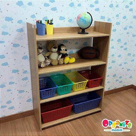 Organizador de brinquedos 4 prateleiras cor itapuã - 4CXP 2CXG