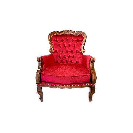 Poltrona Luis XVI de Madeira com Veludo Vermelho