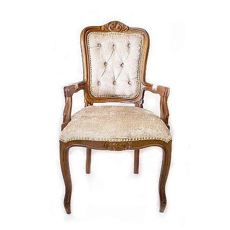 Cadeira Luis XV Capitonê Bege com Braços